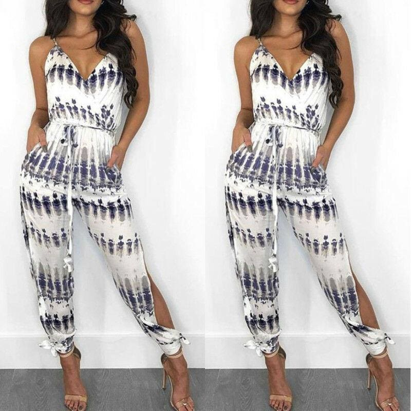 The Best Elegant Fashion Lady Women Holiday Playsuit Romper Long Trousers Loose Jumpsuit Summer Beach Sleeveless V Neck Sexy Bodysuit Online - Hplify