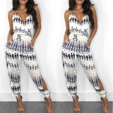 The Best Elegant Fashion Lady Women Holiday Playsuit Romper Long Trousers Loose Jumpsuit Summer Beach Sleeveless V Neck Sexy Bodysuit Online - Source Silk