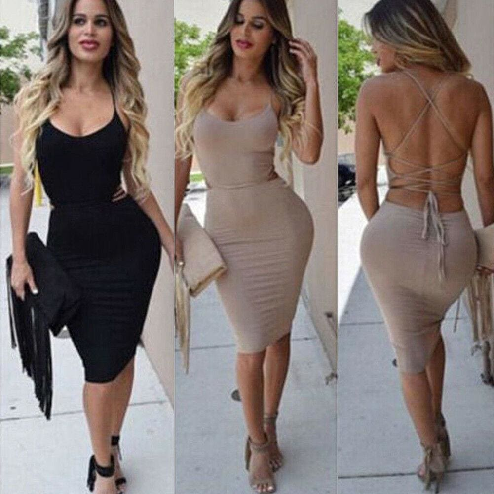 Elegant Fashion Summer Women Sleeveless Bodycon Sexy Backless Solid Casual Party Slim Beach Pencil Dress Sundress - Hplify
