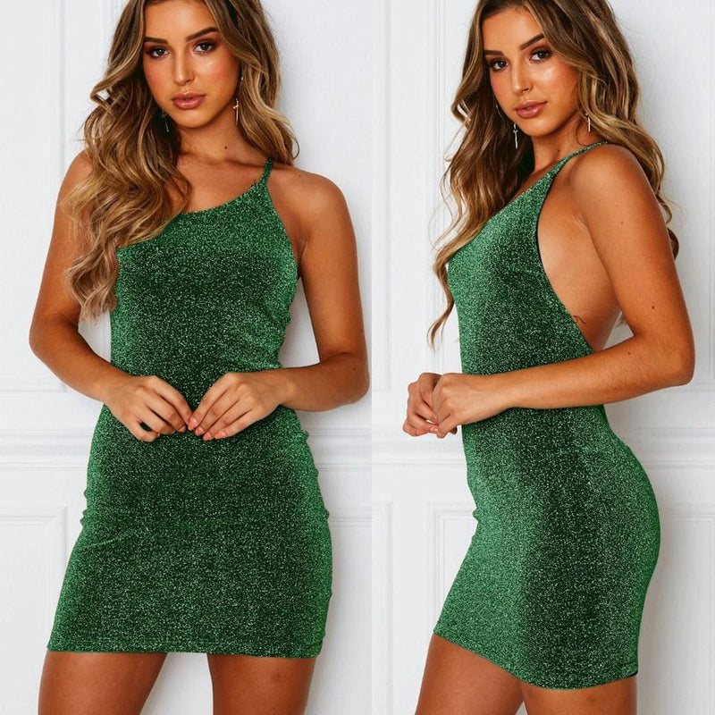 The Best Elegant Fashion Women Strappy Backless Mini Dress Bodycon Summer Beach Sundress Party Casual Glitter Formal Dress Online - Hplify