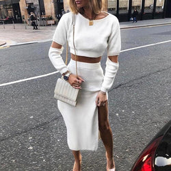The Best Elegant knitted sweater dress Hollow out two piece suit midi dress Online - Hplify