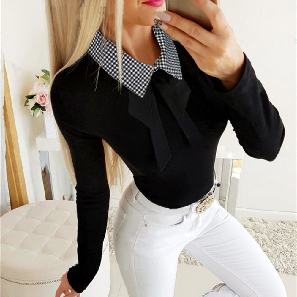 The Best Elegant Office Ladies Lapel Blouse Shirt Autumn Women Long Sleeve Slim Fit Bowknot Stretch Office Solid Shirts Online - Source Silk