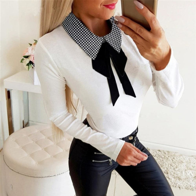 The Best Elegant Office Ladies Lapel Blouse Shirt Autumn Women Long Sleeve Slim Fit Bowknot Stretch Office Solid Shirts Online - Hplify