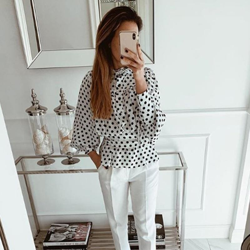 Elegant Polka Dot Chiffon Blouse Women Long Sleeve Bow Tie Female Tops Autumn Winter Streetwear Ladies Shirts - Hplify