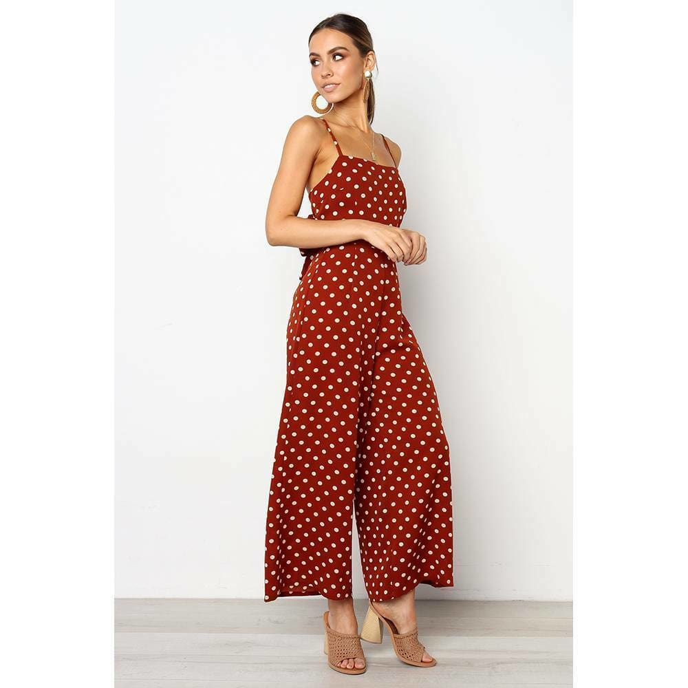 The Best Elegant Sexy Jumpsuits Women Sleeveless Polka Dots Loose Trousers Wide Leg Pants Rompers Online - Source Silk