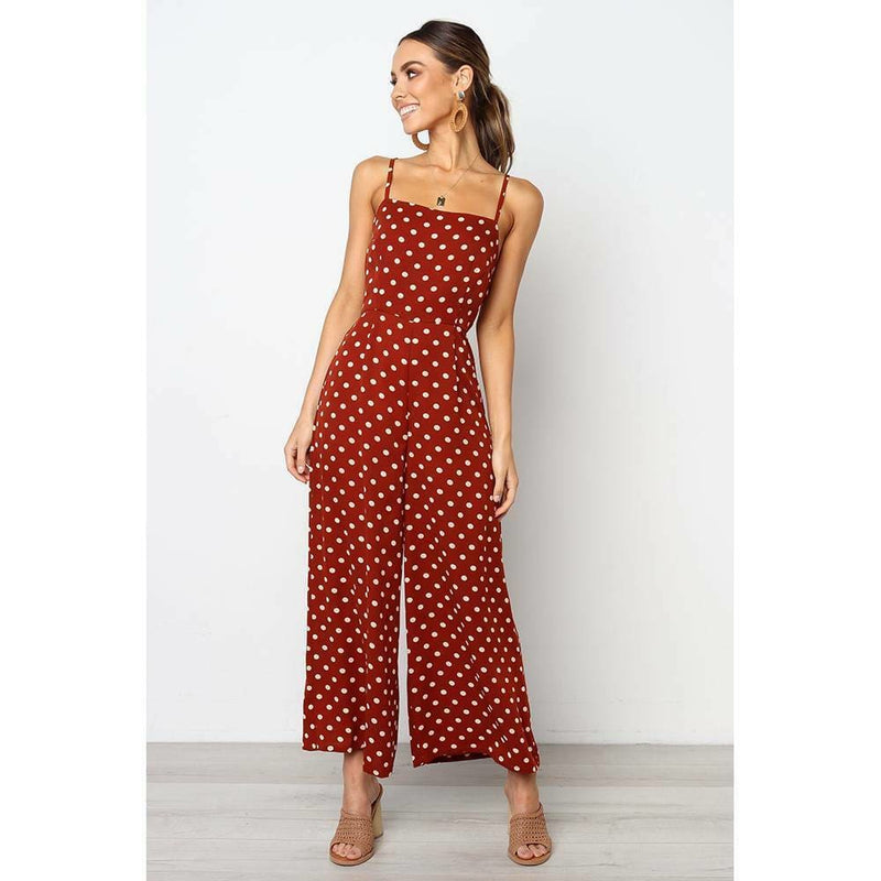 The Best Elegant Sexy Jumpsuits Women Sleeveless Polka Dots Loose Trousers Wide Leg Pants Rompers Online - Hplify