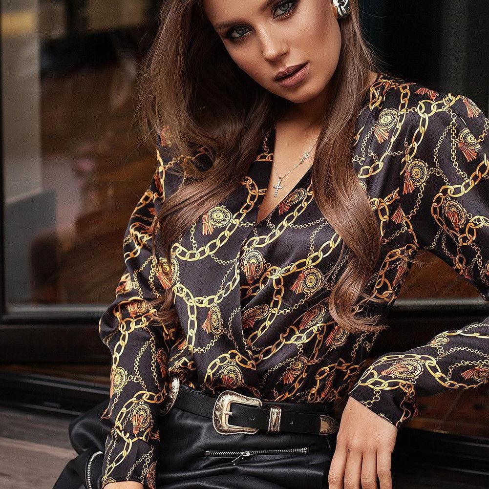 Buy Cheap Elegant Women Boho Floral Print Top Casual Loose V-Neck Blouse Fashion OL Ladies Long Sleeve Beach Shirts Online - Hplify