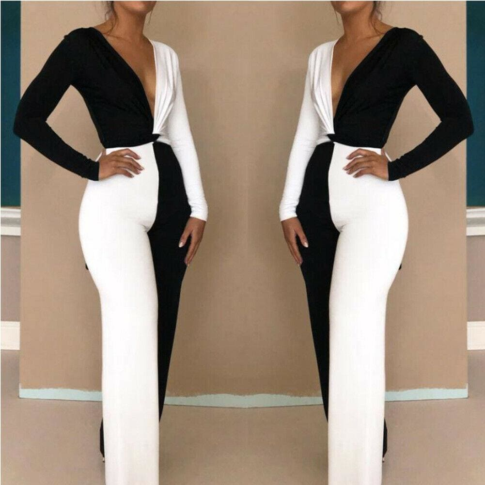 The Best Elegant Women Clubwear Sexy 2 Pcs Set Patchwork Playsuit Bodycon Party Jumpsuit Romper Online - Source Silk