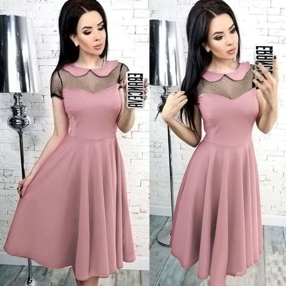 Buy Cheap Elegant Women Formal Prom Evening Party Dress Fashion Ladies Peter Pan Neck Mesh Wedding Ball Gown Midi Dress Online - Hplify
