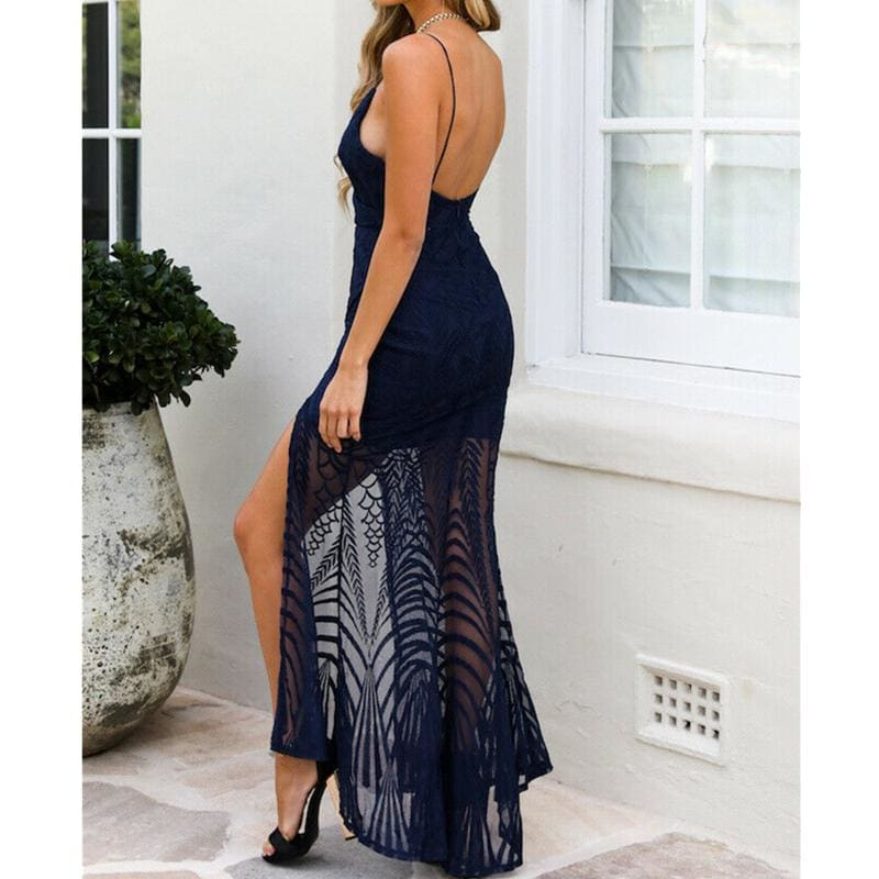 The Best Elegant Women Ladies Lace Evening Party Ball Prom Gown Formal Cocktail Wedding Summer Beach Casual Long Dress Online - Source Silk