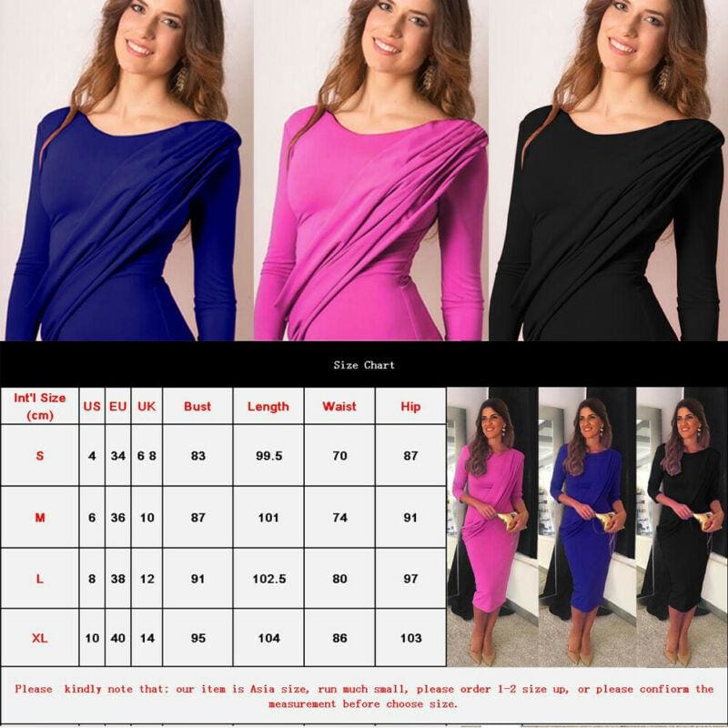 The Best Elegant Women Ladies Long Sleeve Gown Dress Bodycon Wrap Casual Evening Party Wedding Ball Prom Maxi Dress Online - Hplify
