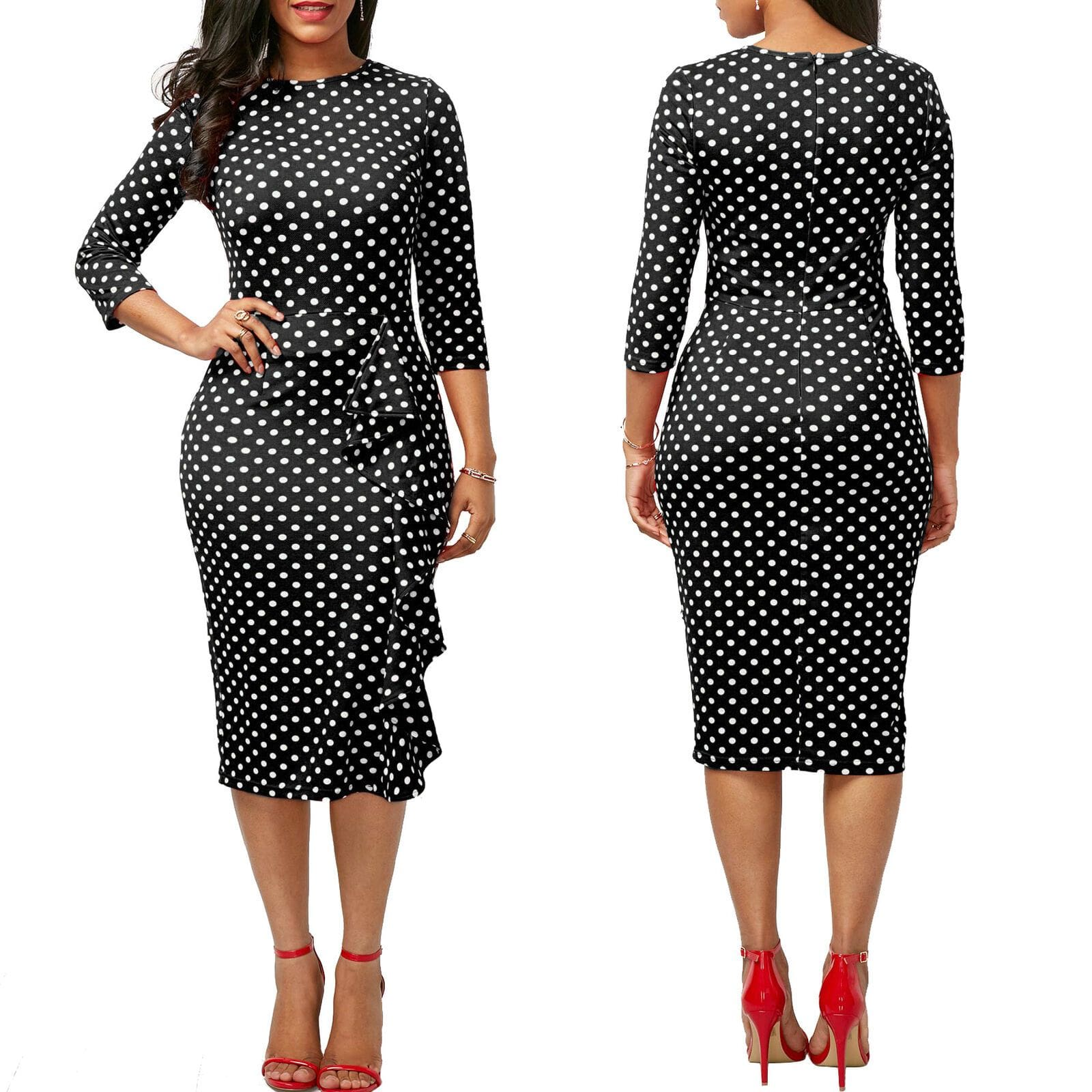 The Best Elegant Women Ladies Sexy Long Sleeve Polka Dots Ruffle Bodycon Slim O-Neck Casual Party Long Pencil Dress Online - Source Silk