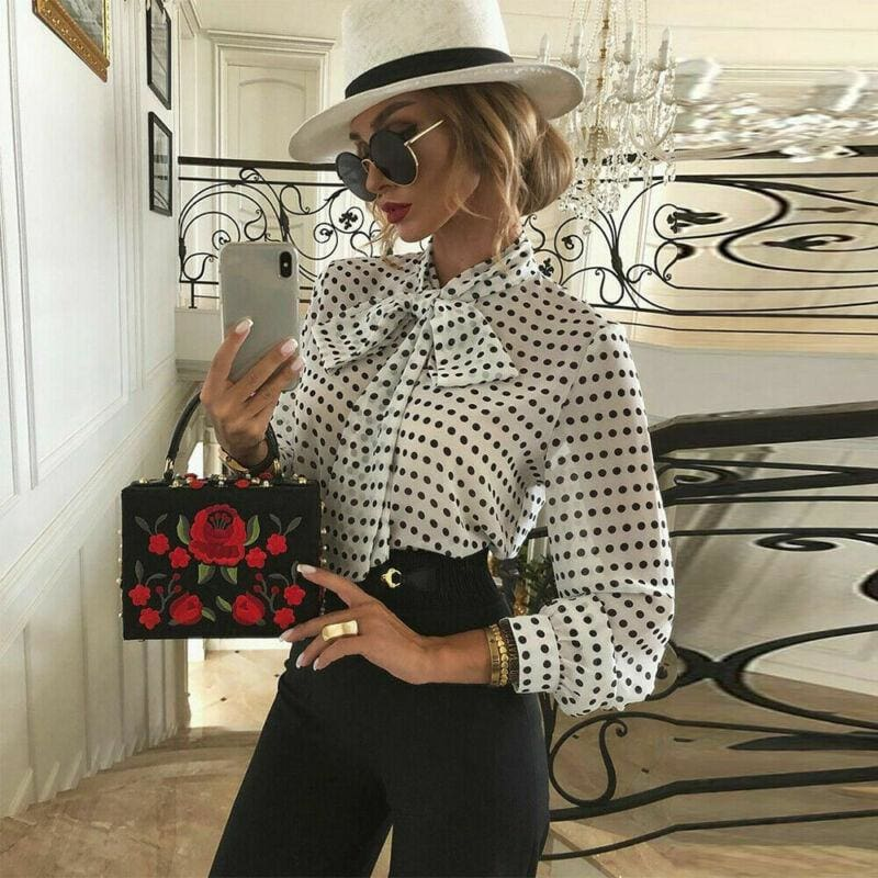The Best Elegant Women Lady Formal Long Sleeve Shirt Chiffon Blouse Tie Polka Dot Tops Casual Office Work Tee Shirt Online - Hplify