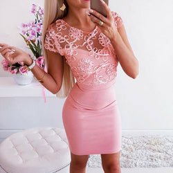 The Best Elegant Women Mesh Flower Bodycon Vintage Holiday Sexy Lady Backless Summer Beach Club Mini Sundress Online - Hplify