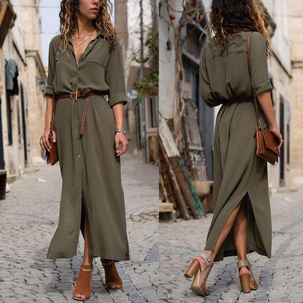 The Best Elegant Women Sexy V Collar Long Maxi Dress OL Ladies Casual Long Sleeve Solid Holiday Summer Beach Sundress Online - Source Silk