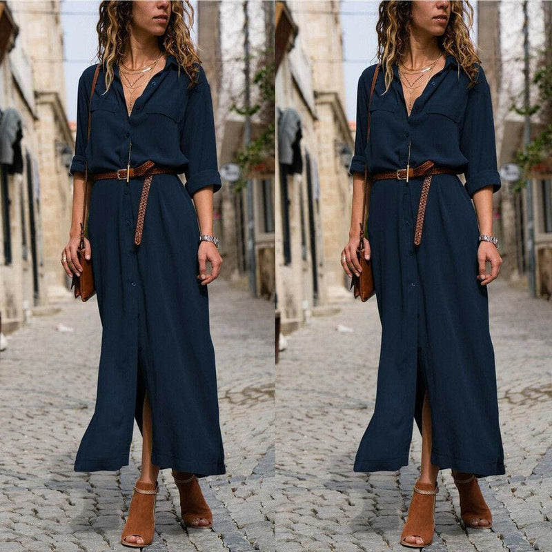 The Best Elegant Women Sexy V Collar Long Maxi Dress OL Ladies Casual Long Sleeve Solid Holiday Summer Beach Sundress Online - Hplify