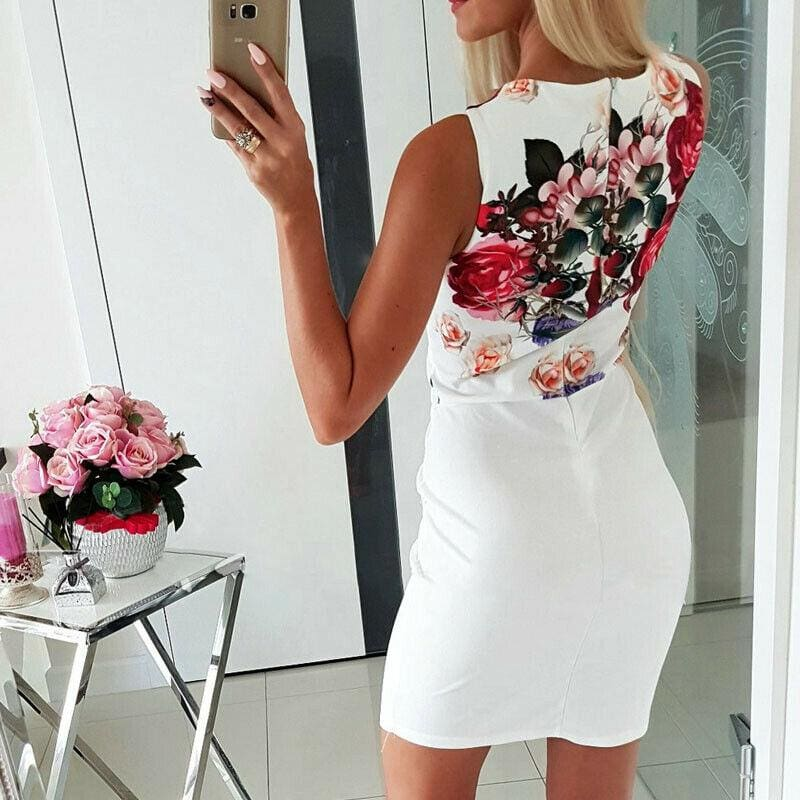 The Best Elegant Women Sleeveless Bodycon Slim Floral Sundress Holiday Pocket Slim Mini Dress Online - Hplify