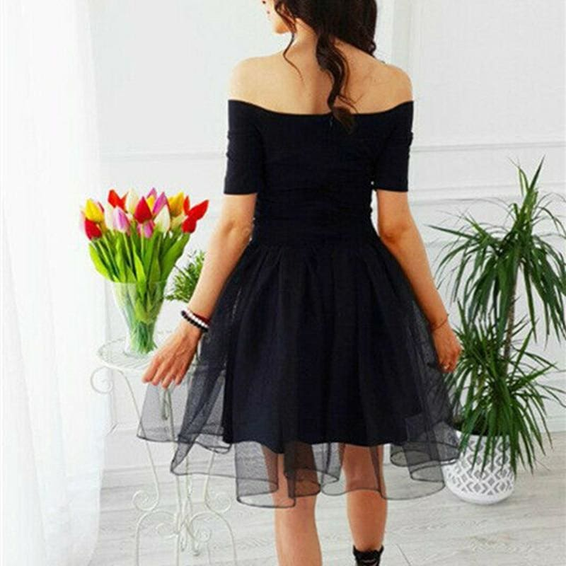 The Best Elegant Women Summer Ruffle Mesh Mini Dresses Off Shoulder Evening Party Ladies Cocktail Club Mini Formal Dress Online - Source Silk