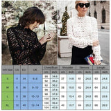 Buy Cheap Elegant Women's Fashion Lace Casual Hollow Shirt Ladies Slim Loose Long Sleeve High Neck White Shirt Tops Online - Hplify