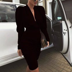 The Best Elegant Women's Long Sleeve V Neck Bodycon Dress OL Ladies Evening Party Office Workout Mini Dress Online - Hplify