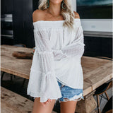 The Best Elegant Women's Off Shoulder Long Sleeve Tops Ladies Sexy Pullover Loose Fashion T-shirt Online - Source Silk