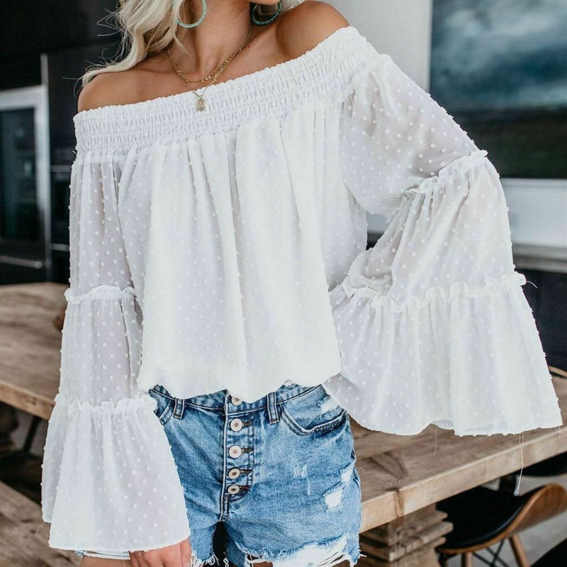 The Best Elegant Women's Off Shoulder Long Sleeve Tops Ladies Sexy Pullover Loose Fashion T-shirt Online - Hplify