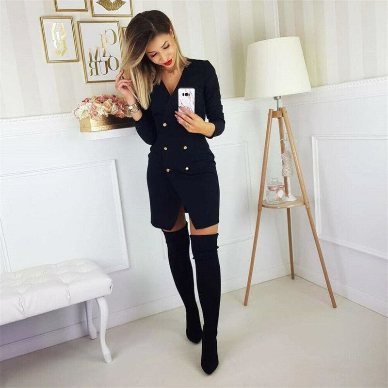 The Best Elegant Women's Office OL Dress Fashion Bodycon Long Sleeve Button Formal Dress Online - Hplify