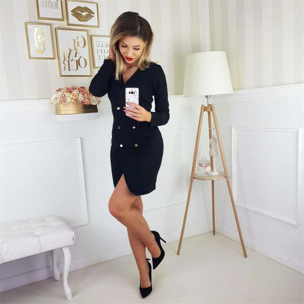Elegant Womens Office OL Dress Fashion Bodycon Long Sleeve Button Formal Dress - Dresses