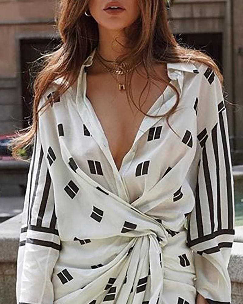 The Best Fall Classy Vintage Asymmetrical Dress Women Printed Shirt Dress Online - Hplify