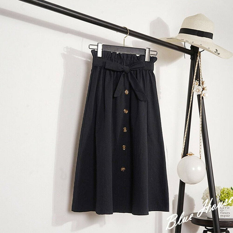The Best Fashion A-Line Skirt Women Casual Elastic High Waist Loose Summer OL Ladies Pocket Button Midi Long Skirt Online - Hplify