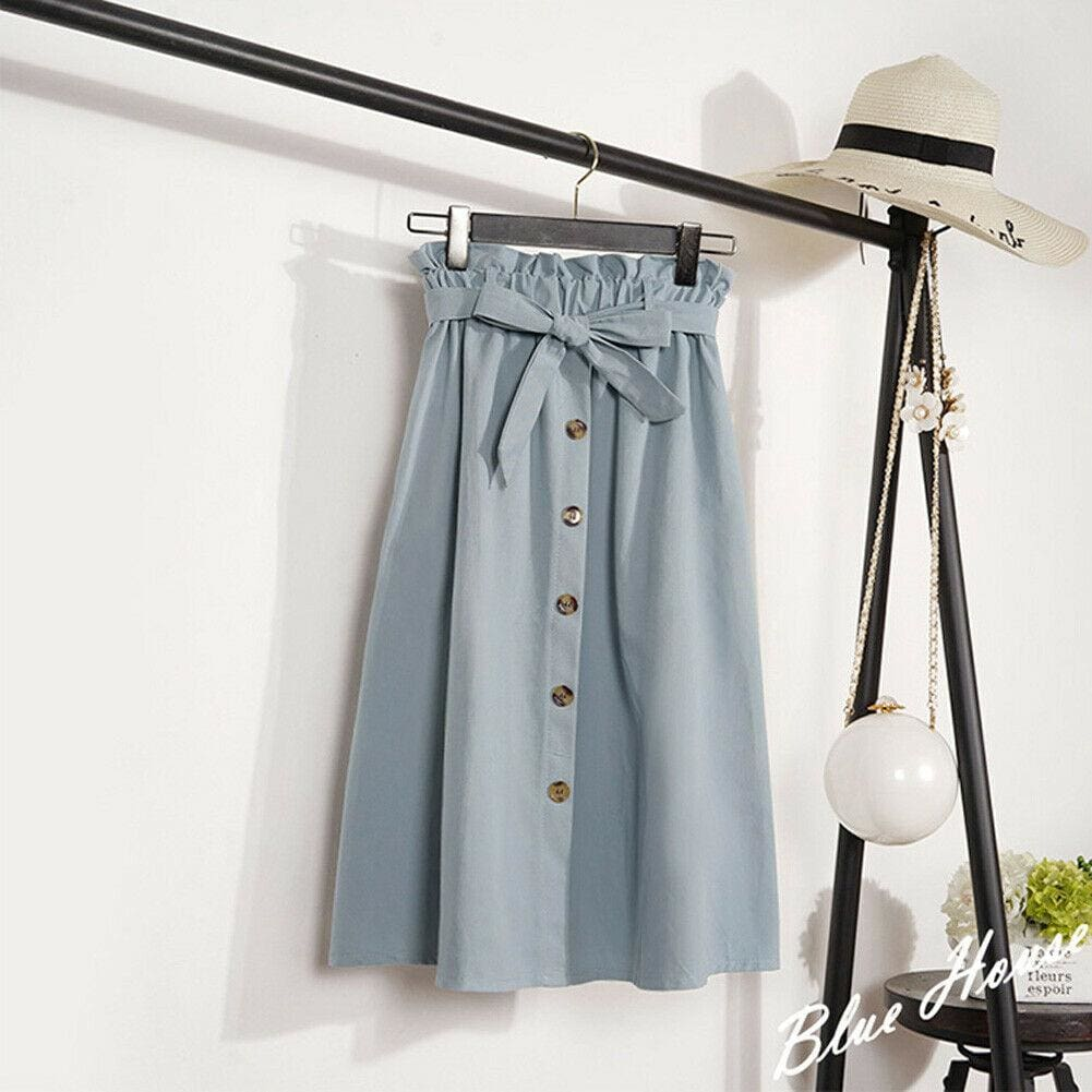 The Best Fashion A-Line Skirt Women Casual Elastic High Waist Loose Summer OL Ladies Pocket Button Midi Long Skirt Online - Source Silk