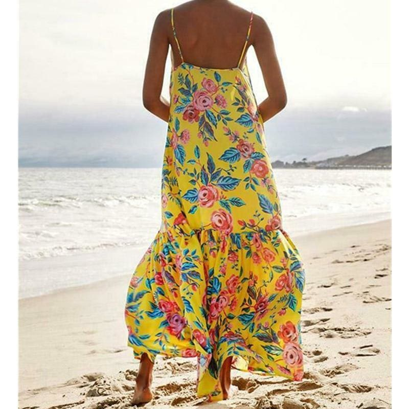 The Best Fashion Beach Dress Women Holiday Sleeveless Loose Summer Beach Casual Floral Long Maxi Dress Sundress Online - Hplify
