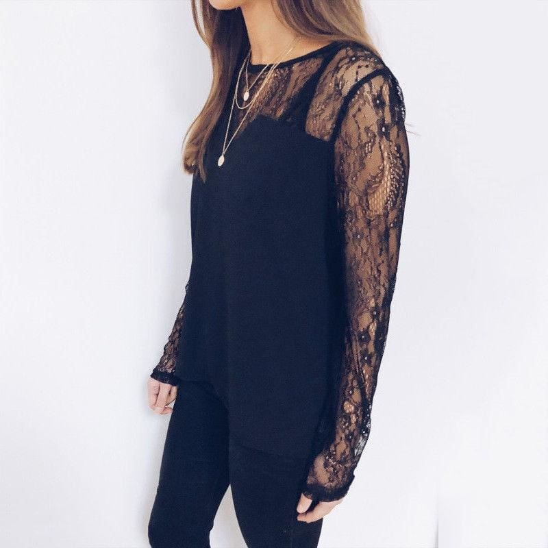 The Best Fashion Boho Beach Summer Women Lace Tops Elegant Ladies Patchwork Lace Mesh Shirt Loose Tops Online - Source Silk