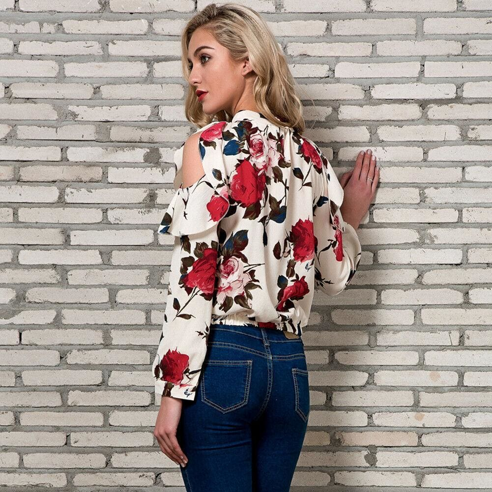 The Best Fashion Boho Women Summer Floral Chiffon Shirt Tops Elegant Ladies Casual Long Sleeve Crew Neck Loose Blouse Shirts Online - Source Silk