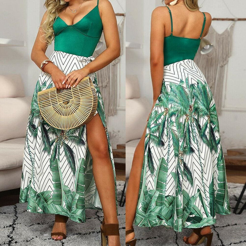 The Best Fashion Boho Women Summer Maxi Long Dress Ladies Floral Spaghetti Strap V-neck Beach Holiday Party Sundress Online - Hplify