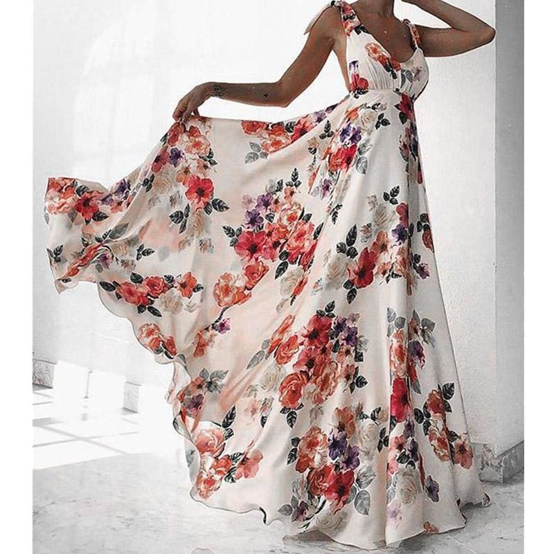 The Best Fashion Floral Dress Women Summer Sleeveless V-Neck Backless Vintage Long Boho Party Casual Loose Beach Sundress Online - Source Silk