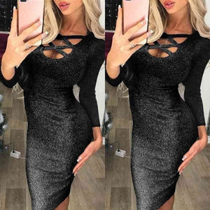 Fashion Glitter Sequin Evening Dress Hollow Out Bodycon Sexy Women Clubwear Wrap Party Slim Fit Formal Dress - Black / S - Dresses