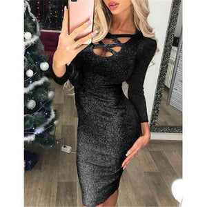Fashion Glitter Sequin Evening Dress Hollow Out Bodycon Sexy Women Clubwear Wrap Party Slim Fit Formal Dress - Dresses