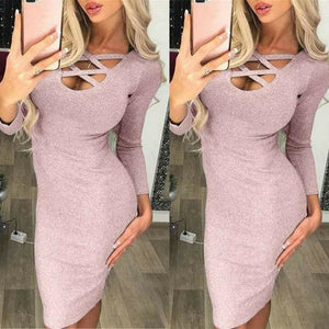 Fashion Glitter Sequin Evening Dress Hollow Out Bodycon Sexy Women Clubwear Wrap Party Slim Fit Formal Dress - Pink / S - Dresses