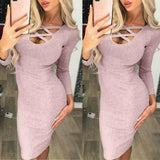 The Best Fashion Glitter Sequin Evening Dress Hollow Out Bodycon Sexy Women Clubwear Wrap Party Slim Fit Formal Dress Online - Source Silk