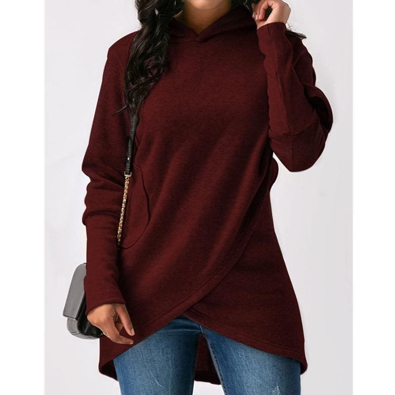 The Best Fashion Hoodie Sweatshirt Women's Pullover Slim Long Sleeve Hooded Solid Blouse Hoodie Women Clothes Plus Size Online - Source Silk