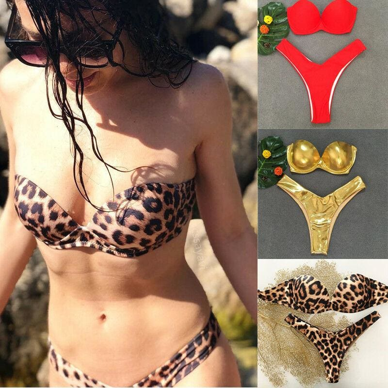 The Best Fashion Hot Padded Bra Bikini Set Swimsuit Women Bandage Push-up Leopard Triangle Swimwear Two-Piece Suits Online - Source Silk