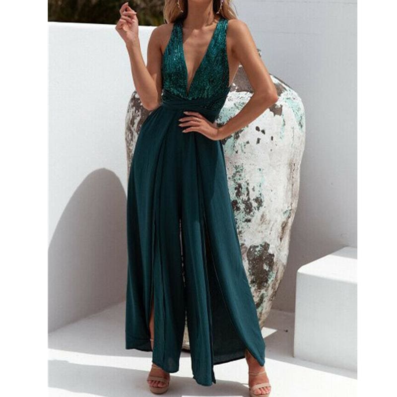 The Best Fashion Jumpsuits Women Summer Chiffon Sexy V Neck Sleeveless Ladies Backless Casual Loose Wide Leg Pants Romper Trouser Online - Source Silk