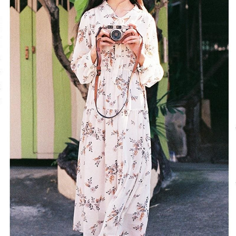 The Best Fashion Korea Style Women Girl Boho Floral Long Dress Maxi Dress Online - Hplify