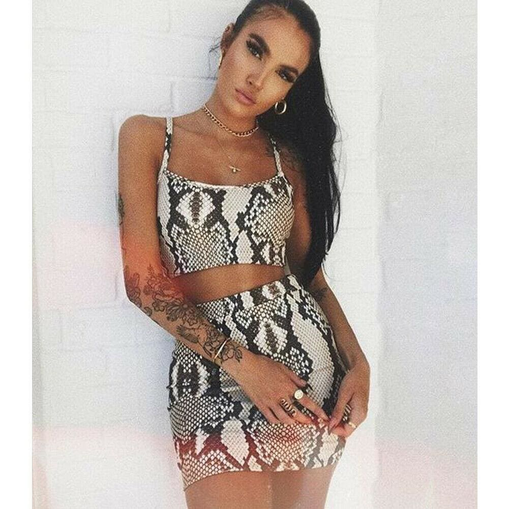 The Best Fashion Ladies Snake Print Two Piece Set Streetwear Women Summer Sleeveless Bandage Crop Top Skirt set Party Club Outfit Set Online - Source Silk