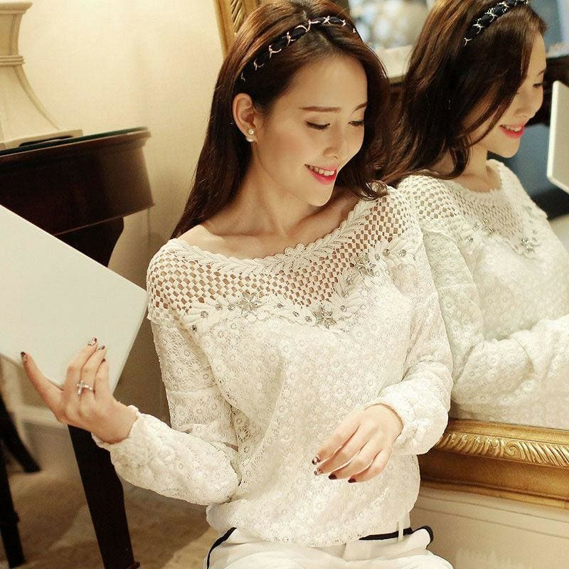 The Best Fashion Ladies Women Autumn Fall Lace Hollow Long Sleeve Casual T Shirt Tops Loose Soft Leisure Tees Online - Hplify