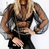 Buy Cheap Fashion Ladies Women Sexy See Through Mesh Shirts Dot Printed Puff Long Sleeve Sheer O Neck Blouse Clubwear Summer Tops Online - Hplify
