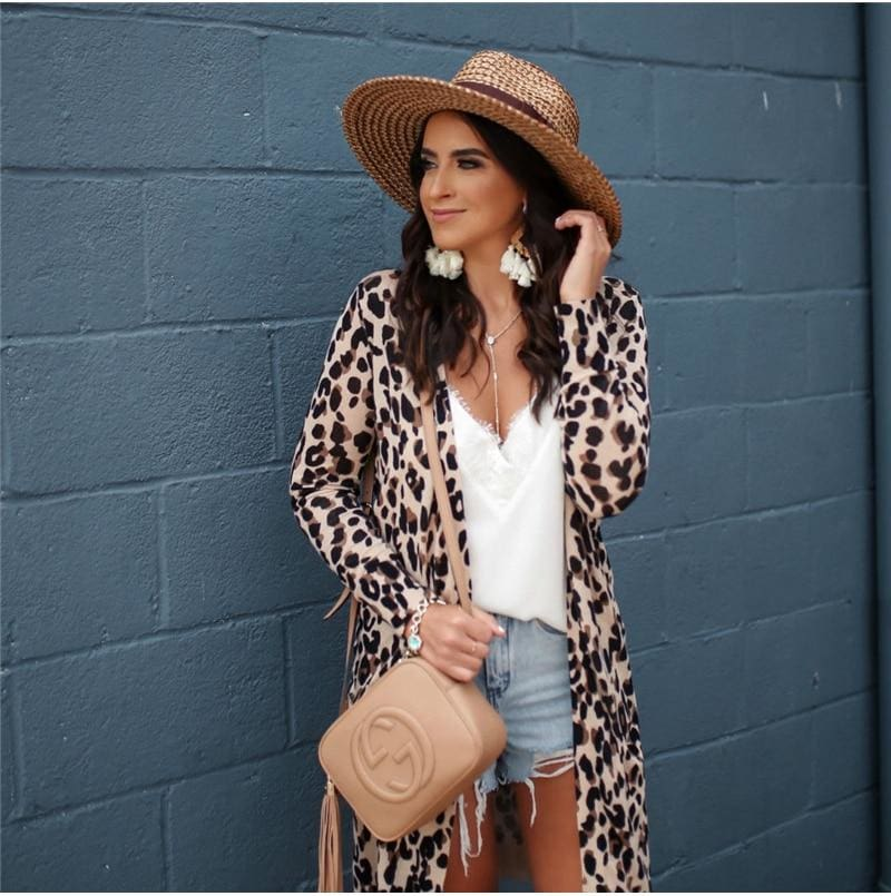 The Best Fashion Leopard Womenos Long Sleeve Cardigan Tops Loose Long Blouse Outwear Streetwear Online - Source Silk