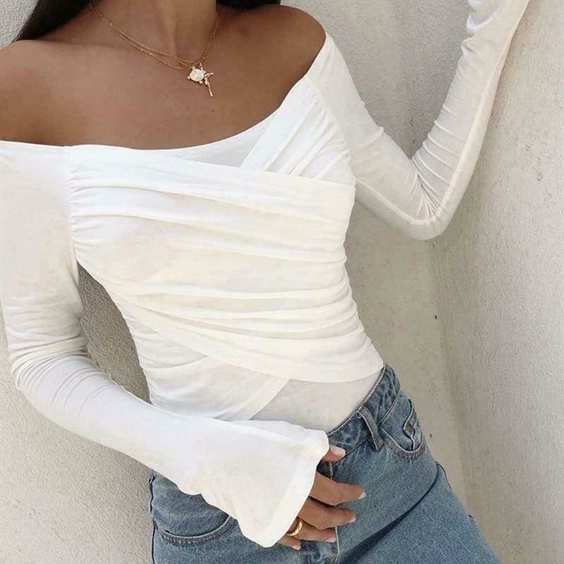 The Best Fashion New Women Ladies Cold Shoulder Blouse Tops Autumn Casual Long Sleeve Stretch Slim Fit Tee Shirt Tops Online - Hplify