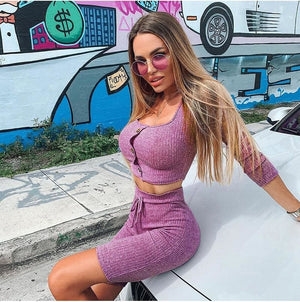 Buy Cheap Fashion Outfits Set Women Bandage Long Sleeve Crop Top and Shorts Pants Suit Fitness Workout Sport Stretch 2 Piece Set Online - Hplify